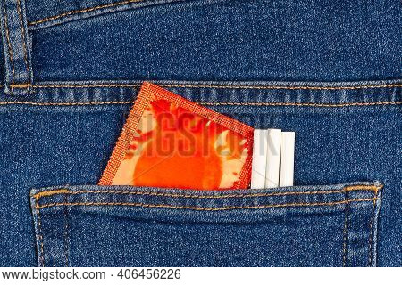Condom Pack In The Blue Jeans Back Pocket