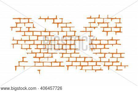 Texture Brick Wall Isolated On White Background. Orange Seam Pattern. Flat Mockup For Design Decor.