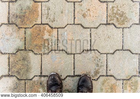 Fray Stone Paving Slabs And Feet, Stone Background, Paving Stone Pattern