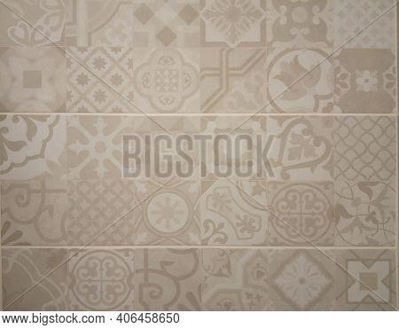 Ceramic Tile Design.  Lisboa Azulejo. Marble Tile With Floral Pattern For The Kitchen