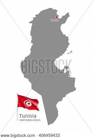 Silhouette Of Tunisia Country Map. Gray Editable Map With Waving National Flag And Tunis City Capita