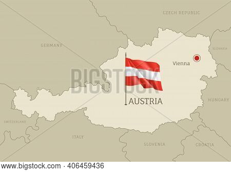 Silhouette Of Austria Country Map. Highly Detailed Editable Austria Map Country Territory Borders Wi