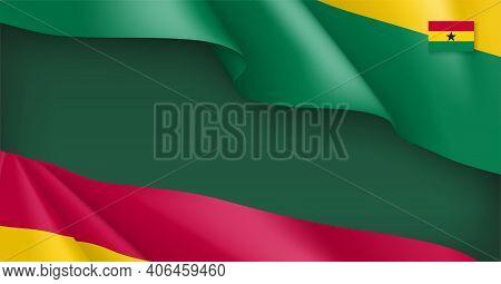 Ghana National Waving Flag Background. Tricolor Flag Backdrop Can Be Used For Celebrating Ghana Afri