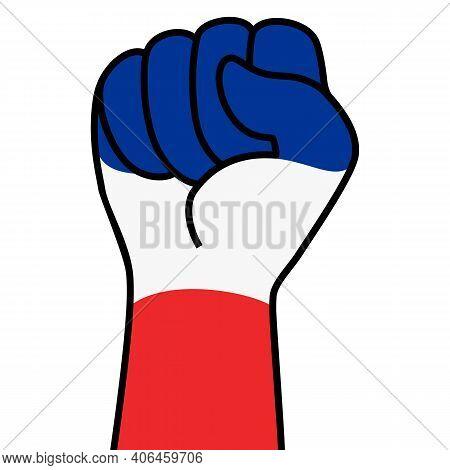 Raised French Fist Flag. Hand Of France. Fist Shape France Flag Color. Patriotic Demonstration, Rebe