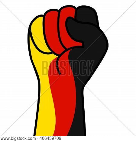 Raised German Fist Flag. The Hand Of Germany. Fist Shape Germany Flag Color. Patriotic Demonstration