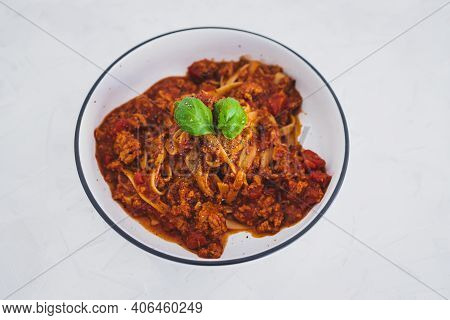Plant-based Food, Italian Fettuccini With Vegan Bolognaise Sauce Made Of Plant-based Meat