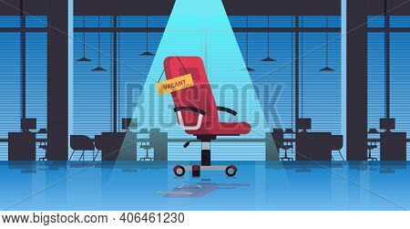 Vacant Sign On Armchair Business Hiring Recruiting Concept Office Interior Horizontal Vector Illustr