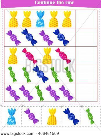 Logic Game For Children. Continue With The Candy Row. Worksheet. Vector Illustration