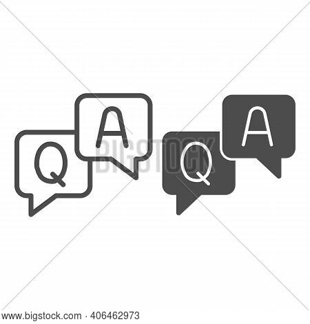 Question And Answer Dialogues Line And Solid Icon, Online Education Concept, Q And A Word In Speech