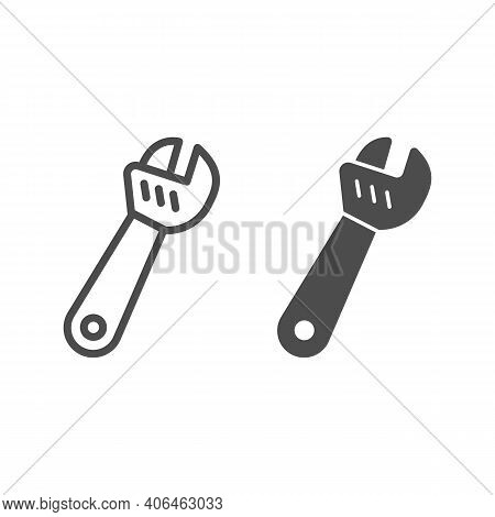 Large Adjustable Wrench Line And Solid Icon, Labour Day Concept, Metal Wrench For Loosening Bolts Si