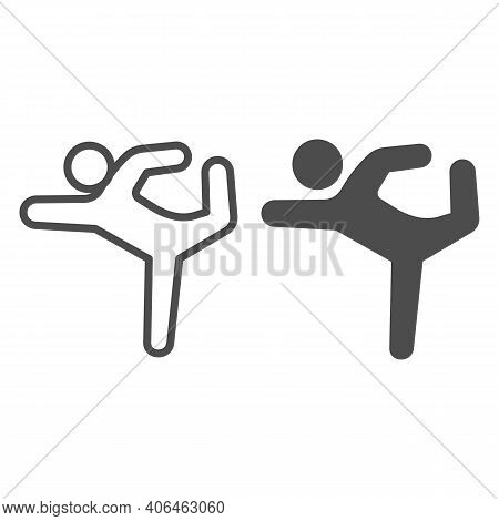 Gymnast Line And Solid Icon, Diet Concept, Athletic Person Sign On White Background, Gymnast Silhoue