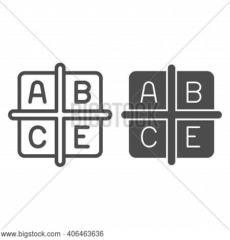 A B C E Vitamins Line And Solid Icon, Diet Concept, Four Groups Of Vitamins Sign On White Background