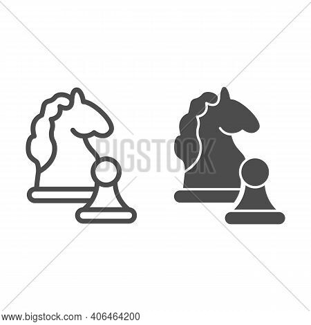 Knight And Pawn Line And Solid Icon, Startup Concept, Strategy Game Figures Sign On White Background