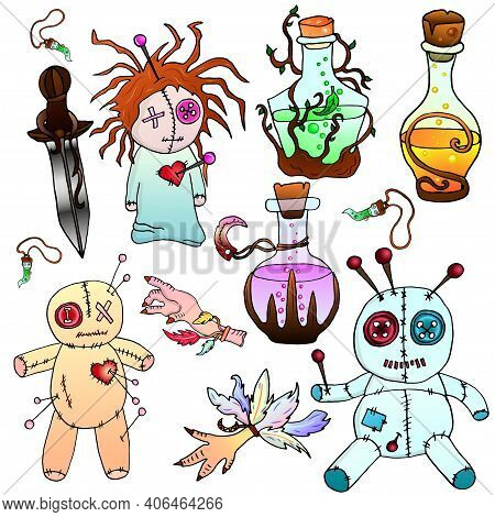 Colorful Voodoo Dolls, Magic Attributes Vector Illustration. The Isolated Image On A White Backgroun