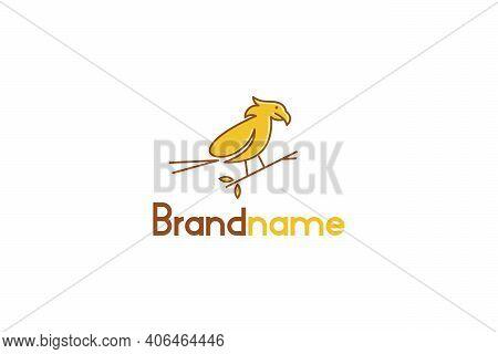 Bird On A Branch, Perch Bird Logo Vector Design, Abstract Line Art, Modern Vintage Logo Concept.