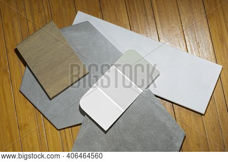 Remnant Floor Pieces Laid Out With Color Swatch For Interior Decorating Concepts