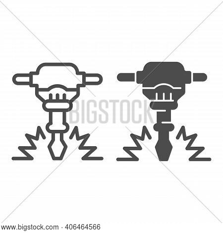 Construction Jackhammer Line And Solid Icon, Labour Day Concept, Concrete Breaker Sign On White Back