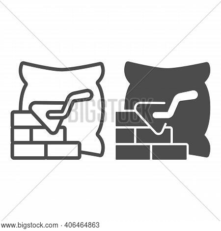 Brickwork With Trowel And Bag Of Cement Line And Solid Icon, Labour Day Concept, Cement Bag And Bric