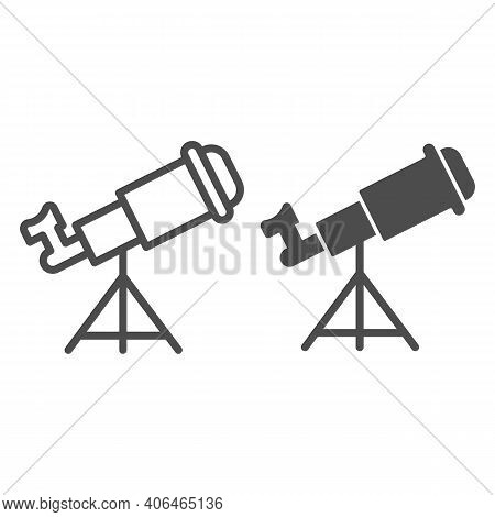 Telescope Line And Solid Icon, Startup Concept, Monocular Sign On White Background, Spyglass Icon In