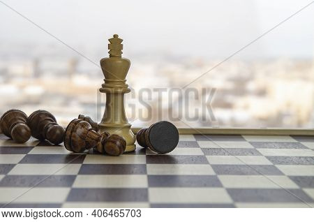Black And White King Chess Piece . Chess Game Figurine. Chess Pieces. Board Games. Strategy Games. C