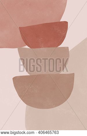 Abstract Aesthetic Watercolor Minimalist Hand Drawn Contemporary Background. Mid Century Modern Art