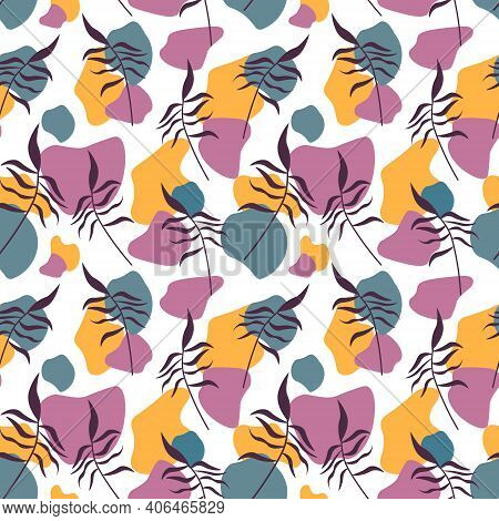 Pattern With Leaves And Abstract Spots. Modern Creative Background. Template For Design Paper, Cover