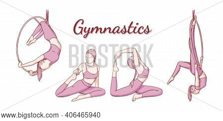 Female Gymnast Set. Gymnastics Strength And Flexibility Iproving Poses. Colored Engraved Vector Illu