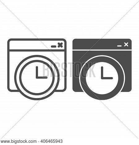 Website Window With Clock Line And Solid Icon, Online Education Concept, Page Loading Speed Banner S