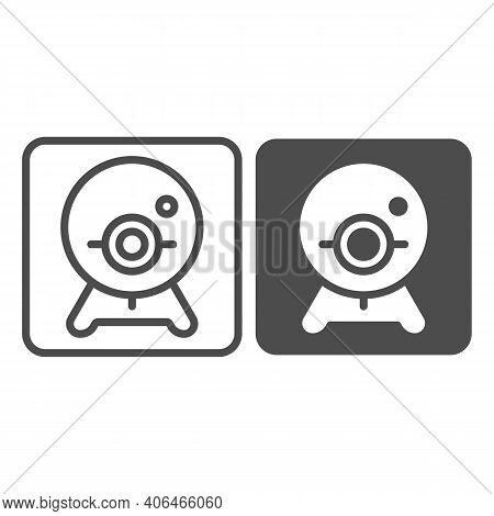Webcam Line And Solid Icon, Online Education Concept, Chat Camera Sign On White Background, Webcam F