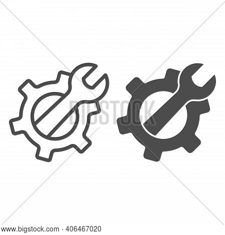 Wrench In Gear Line And Solid Icon, Labour Day Concept, Service Tool Sign On White Background, Mecha