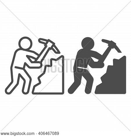 Miner With Pickaxe Line And Solid Icon, Labour Day Concept, Pile Of Coal And Man With Pickaxe Sign O