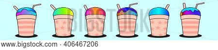 Set Of Snow Cone Cup Cartoon Icon Design Template With Various Models. Modern Vector Illustration Is