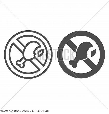 Banned Fatty Chicken Leg Line And Solid Icon, Diet Concept, Forbidden Sign With Roasted Chicken Leg