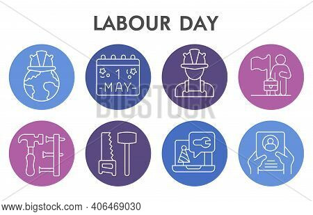 Modern Labour Day Infographic Design Template With Icons. Labor Day Infographic Visualization In Bub