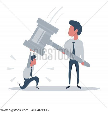 Businessman Rebelling Against The Law And Injustice. Vector Illustration