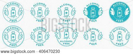 A Set Of Conceptual Stamps For Packaging Products. Labeling - Alcohol Free. A Round Stamp With Wings