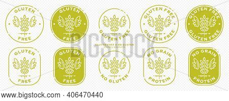 A Set Of Conceptual Stamps For Packaging Products. Labeled - Gluten Free, Grain Protein Free. Round