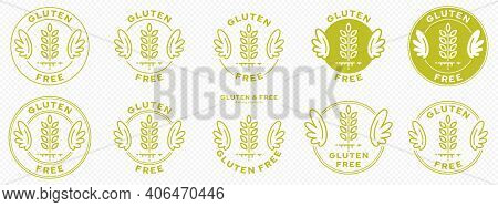 A Set Of Conceptual Stamps For Packaging Products. Labeling - Gluten Free. A Stamp With Wings Is A S