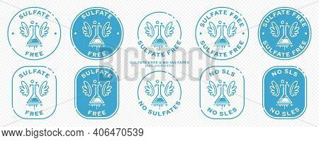A Set Of Conceptual Stamps For Packaging Products. Labeling - Sulfate Free. Round Stamp With Flat Ic