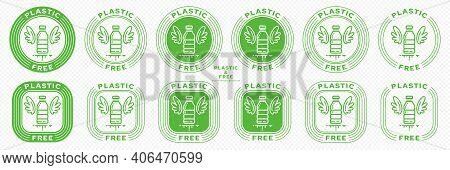 Conceptual Stamps For Product Packaging. Marking - No Plastic. Stamp With The Symbol Of Free, Contai