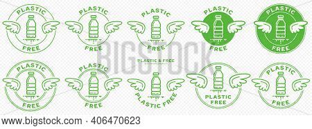 A Set Of Conceptual Stamps For Packaging Products. Marking - No Plastic. A Stamp With Wings Is A Sym