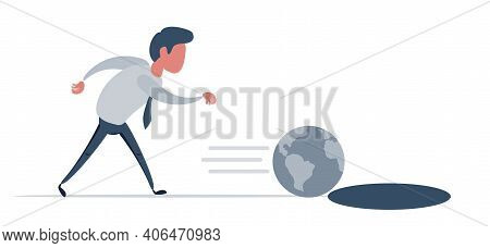 Man Playing With The Globe Like A Toy. Concept Of Global Warming And Destruction Of The Environment