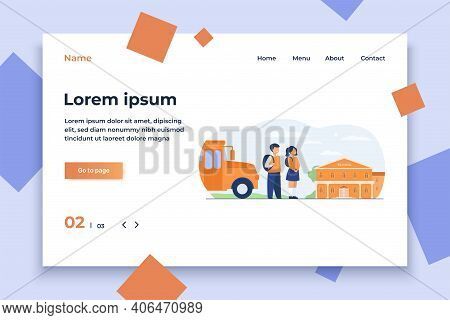 Happy Children Waiting School Bus Isolated Flat Vector Illustration. Cartoon Girl And Boy Standing O