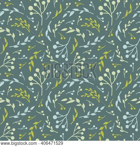 Floral Vector Seamless Pattern. Blue And Green Leaves On Blue Green Background. Abstract Floral Patt