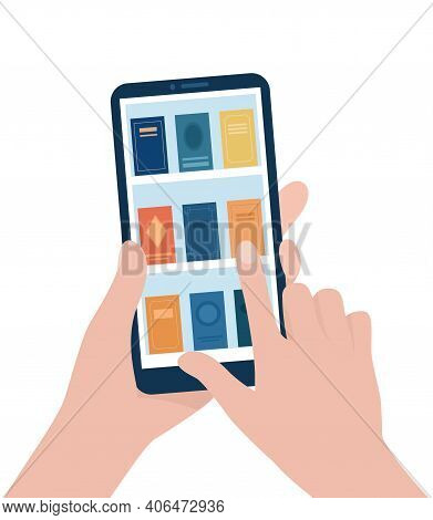 Bookshelves With Books On The Smartphone Screen. Digital Library. E-books. Hands Hold A Smartphone,