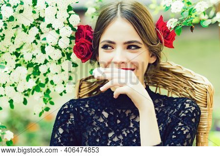Spring Woman Smiling With White Flower In Mouth