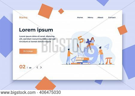 Happy Students Learning Math In College Or School Isolated Flat Vector Illustration. Cartoon Digits,