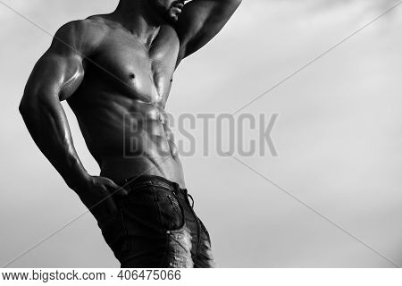 Man With Muscle Torso. Muscular And Sexy Body Of Young Man Having Perfect Athletic Body