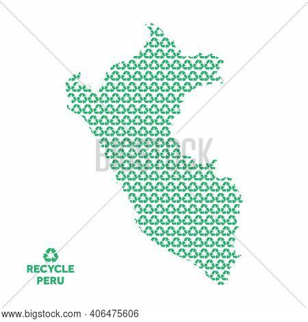 Peru Map Made From Recycling Symbol. Environmental Concept
