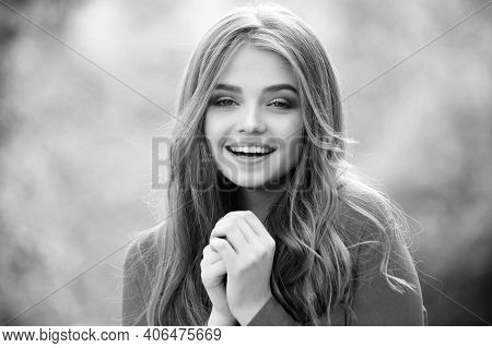 Happy Woman Outdoor. Black White. Cute Smiling Woman Outdoor